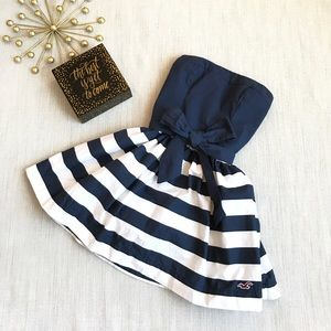 Hollister Navy rugby striped strapless mini dress